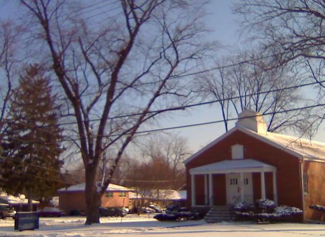 Snowy Church Days in Lombard, Illinois USA