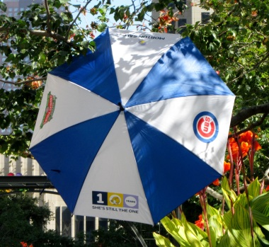 Morton Salt Girl and Wrigley Field Cubs Centennial Umbrella